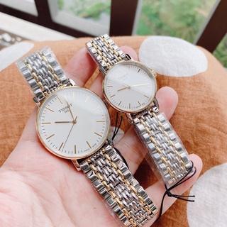 Đồng hồ đôi chính hãng Tissot T109.410.22.031.00 & T109.210.22.031.00 (mặt trắng, vỏ vàng, dây kim loại demi gold) thumbnail