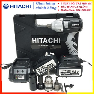 [Chính Hãng] Máy siết bulong Hitachi 88V 2 pin 15000mAh, không chổi than, đầu 2 trong 1 - KÈM PHỤ BỘ PHỤ KIỆN