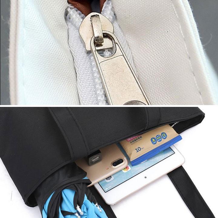 Túi tote vải đeo chéo nữ hàn quốc giá rẻ, kiểu dáng cá tính, đựng vừa ipad và nhiều đồ tiện ích