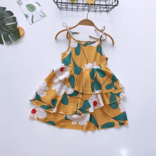 Váy lanh 3 tầng cho bé gái 1- 5