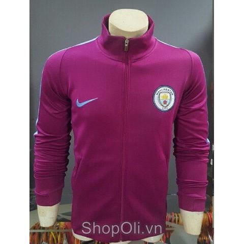 Áo khoác đá banh cao cấp clb Manchester City màu tím nho