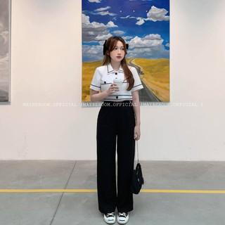 [Mã FASHIONMALLT4 giảm tới 30K đơn 150K] Set áo croptop mix quần suông đen - Mono set Mayberoom thumbnail