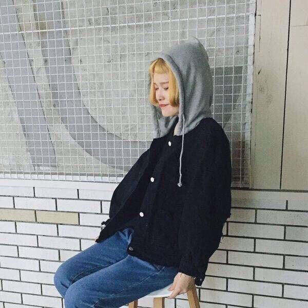 Áo khoác jean đen phối nón nỉ form rộng cá tính