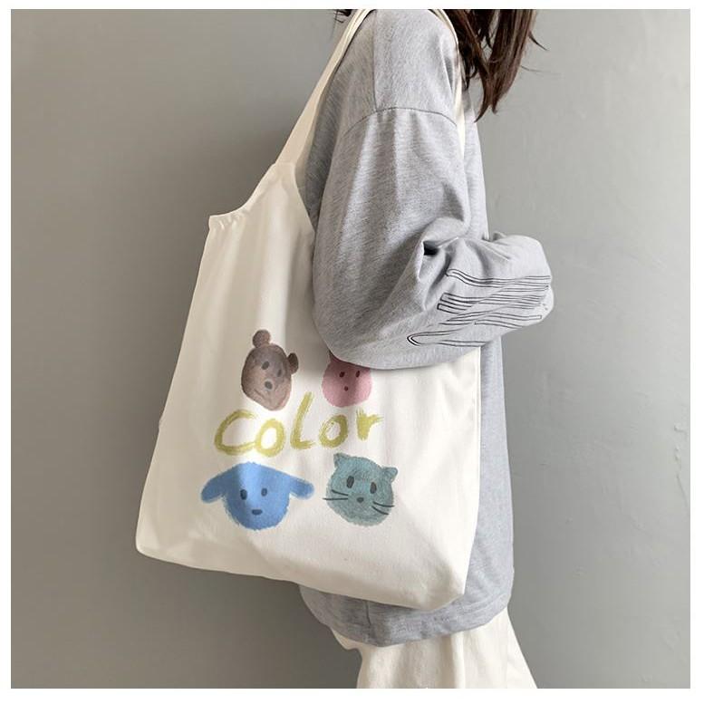 Túi vải Tote Vải Canvas Color họa tiết hình thú dễ thương siêu hot 2020