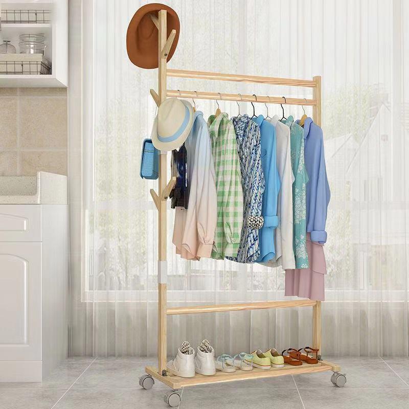 Giá treo quần áo, để giày bằng gỗ loại có bánh xe cao cấp