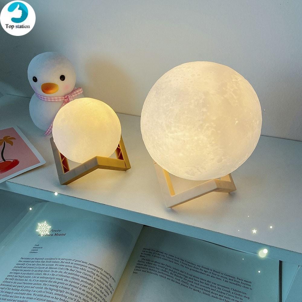Đèn ngủ thiết kế hình mặt trăng 3D chất lượng cao