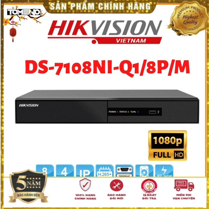 Đầu ghi hình IP - Đầu thu 8 kênh IP HDTVI Hikvision DS-7108NI-Q1/8P/M-Hàng mới 100% [Bảo hành 5 năm] Lỗi đổi mới 14 ngày