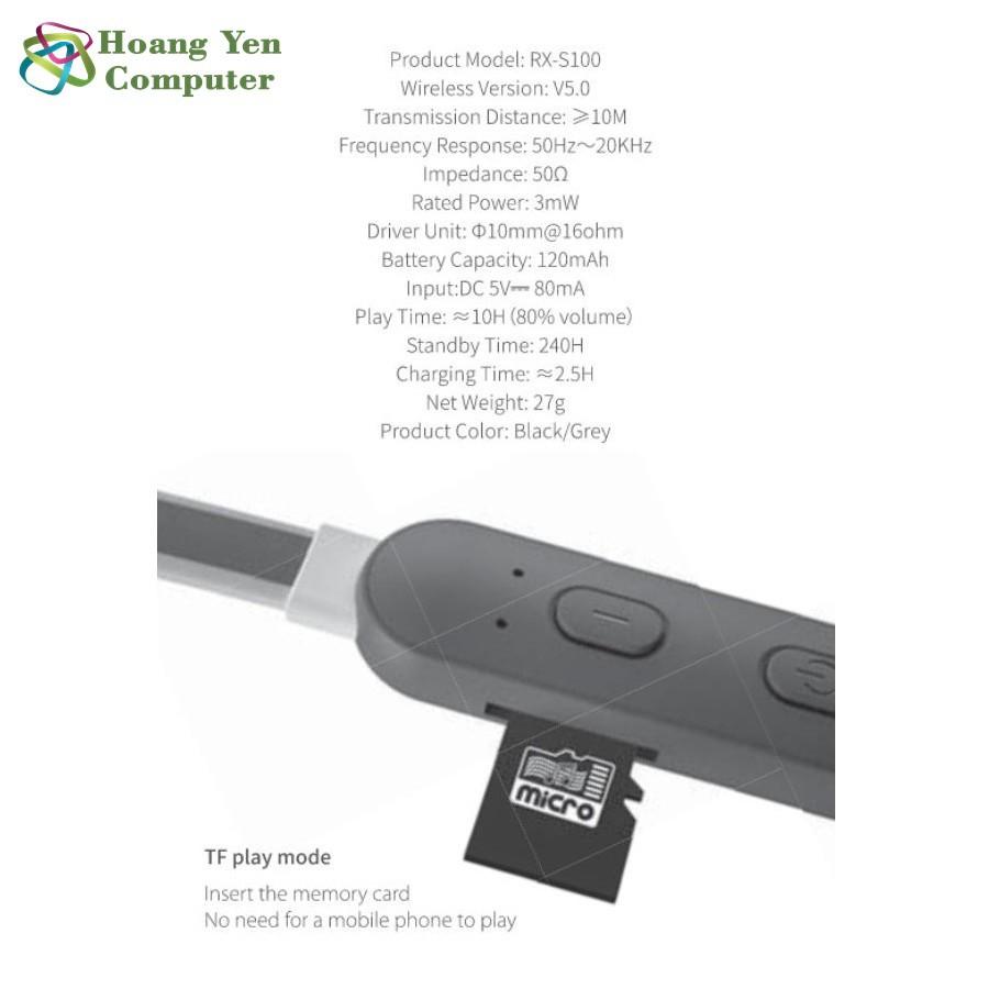 Tai Nghe Bluetooth Remax RX-S100 V5.0 Có Khe Thẻ Nhớ, Pin Cực Trâu - BH 1 Năm