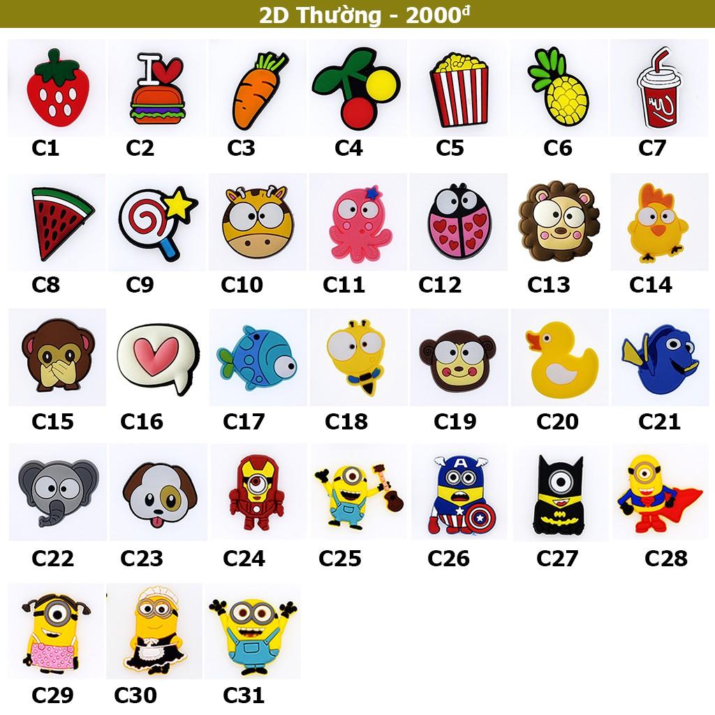 Nút gắn dép Crocs 2D Thường - Jibbitz Charm Sticker cài dép Sục, Satihu, Cá Sấu