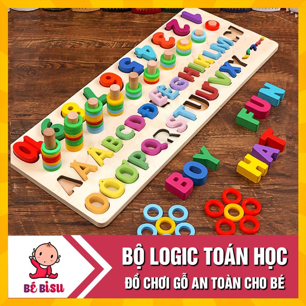 Đồ chơi Bảng ghép chữ cái và cột tính học đếm cho bé- Logic toán học và tiếng việt