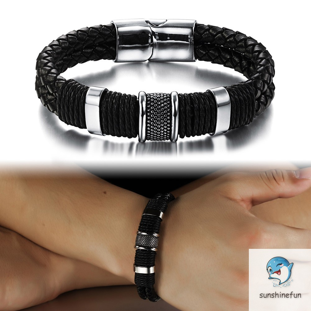 Men PU Leather Braided Bracelet Chain Magnetic Buckle Jewelry Gifts