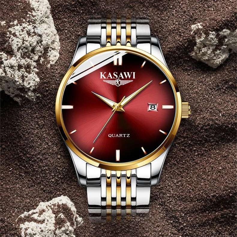 Đồng Hồ Nam KASAWI K1988 không thấm nước đồng hồ đeo tay kim dạ quang Lịch ngày sang trọng dây hợp kim thép _FULL BOX