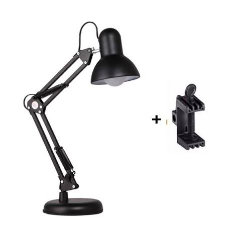 Đèn để bàn kèm kẹp bàn đa năng Đen( bao gồm bóng đèn)