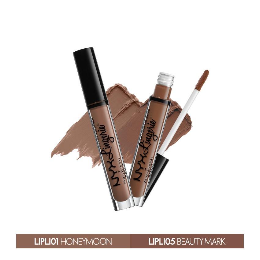 Bộ 2 son kem lì NYX Lingerie Liquid Matte Lipstick Honeymoon & Beauty Mark