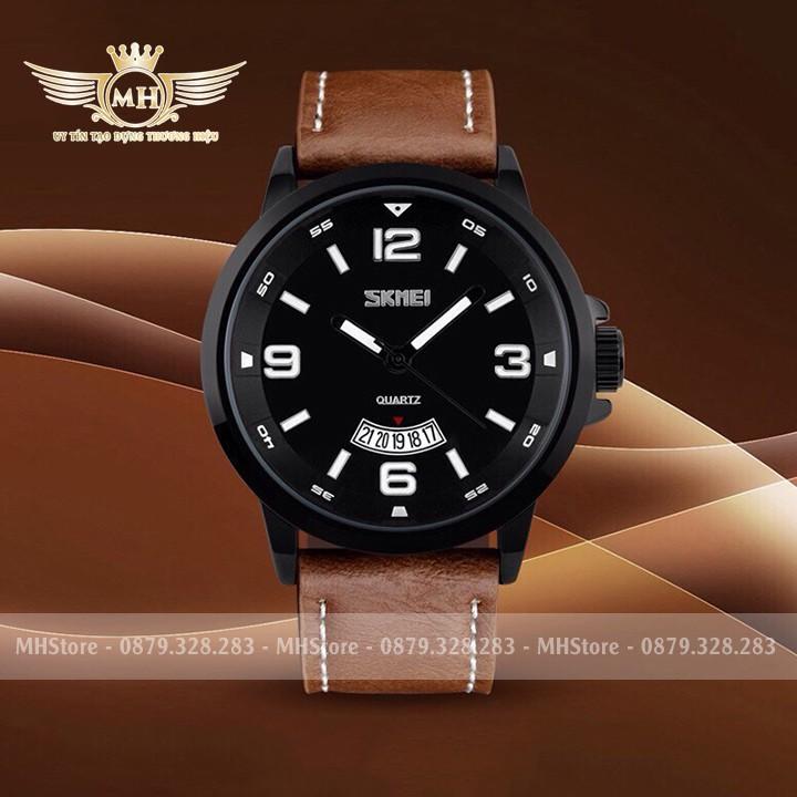 Đồng hồ nam Skmei ✳️FreeShip✳️ Dây da cao cấp, chống nước, chống xước - Đồng hồ Skmei ✳️ Tặng thêm dây da + Pin dự phòng