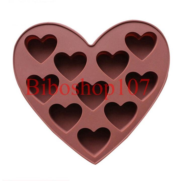 Khuôn silicon làm thạch, rau câu, socola 10 hình trái tim