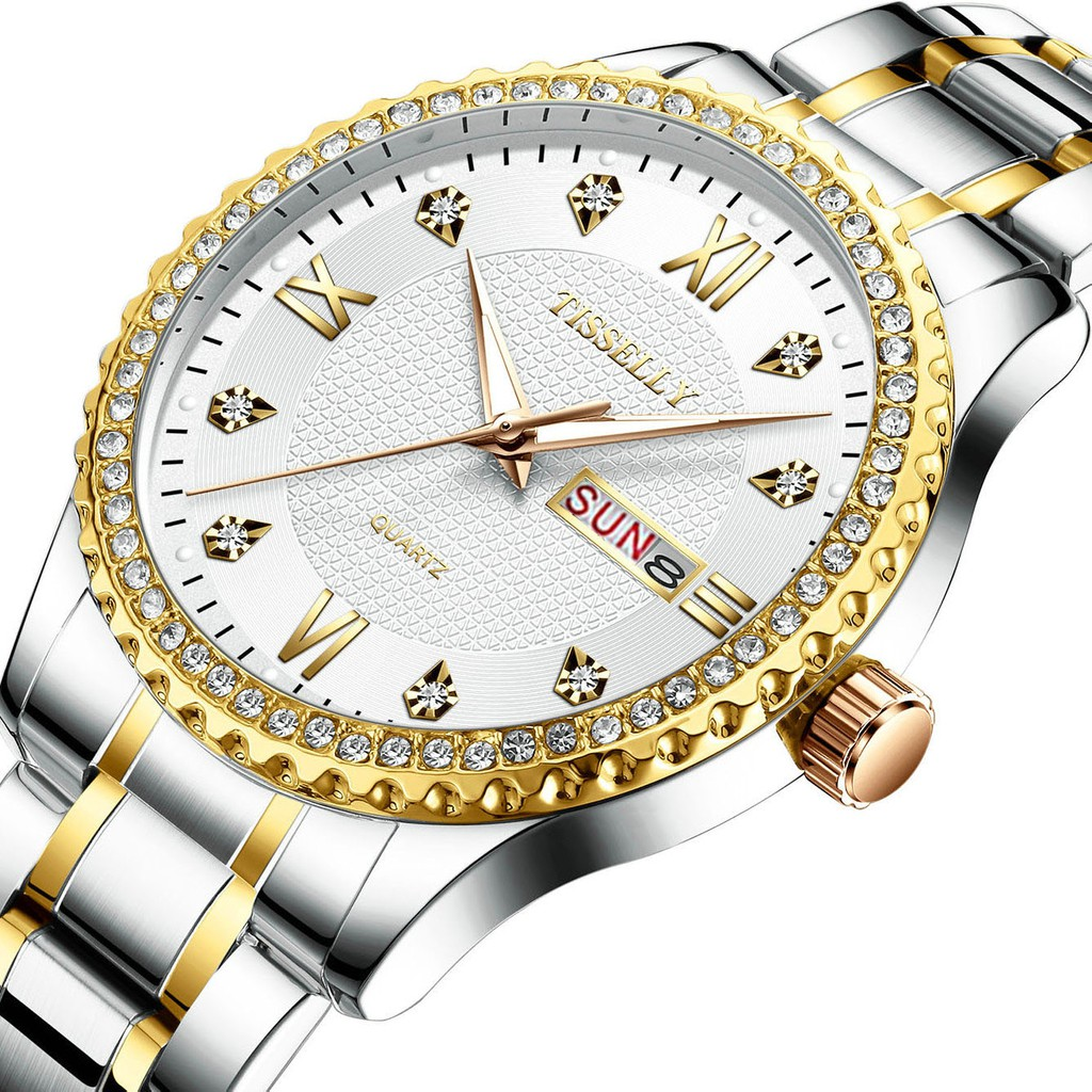 Đồng hồ nam TISSELLY T808 thiết kế sang trọng không thấm nước 3ATM chạy 2 lịch dây hợ