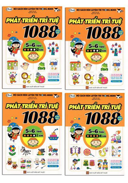 Bộ Sách Rèn Luyện Trí Thông Minh - 1088 Câu Đố Phát Triển Trí Tuệ 5 - 6 Tuổi -180k