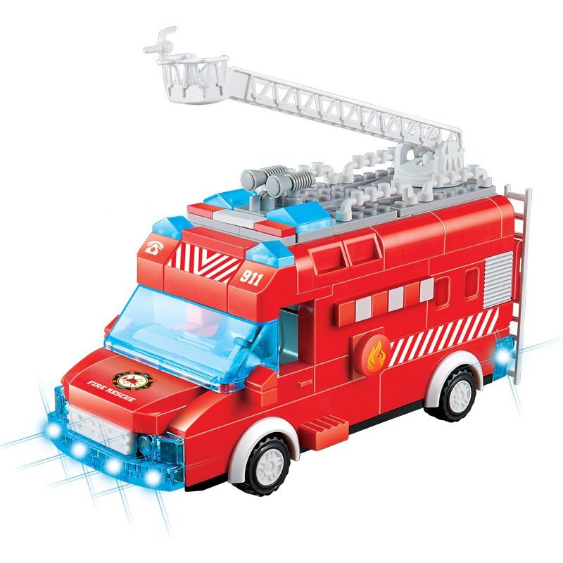 đồ chơi lắp ráp mô hình xe cứu hỏa, xe cảnh sát chạy tự động bằng pin có đèn pha và kèn