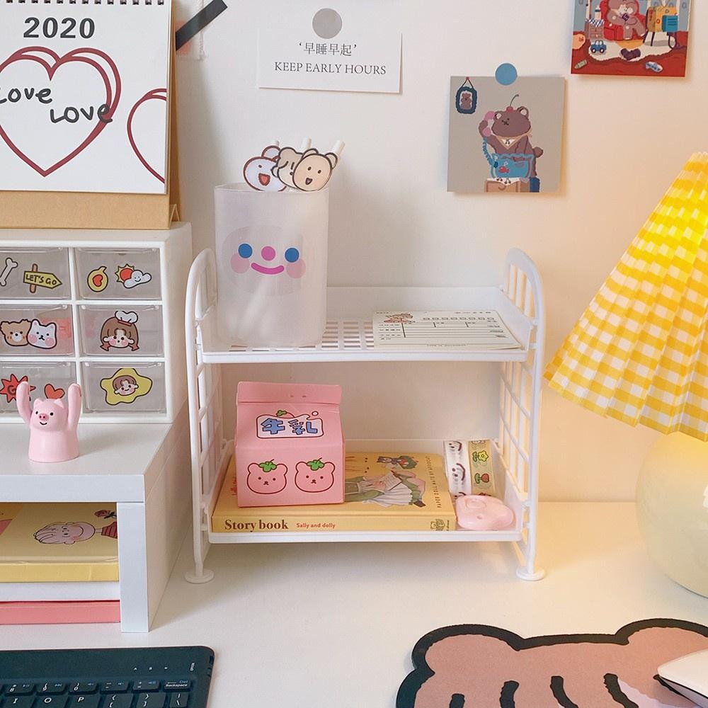 Kệ nhựa mini 2 tầng để đồ dùng học tập trang trí bàn học phong cách Hàn Quốc