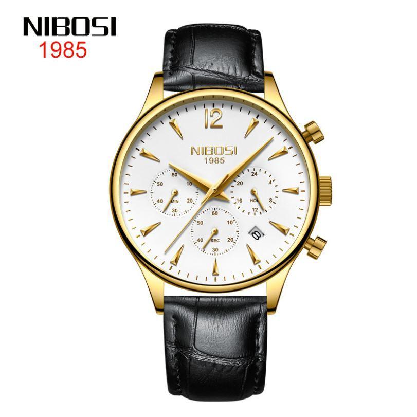 Đồng hồ nam NIBOSI chính hãng Fullbox, dây da Classic , 6 kim có lịch ngày - NIBI25