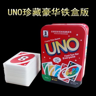 UNO Board Game Playing Cards With Metal Box