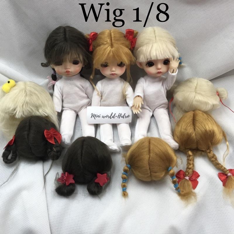 Wig len Tóc giả dành cho búp bê BJD Size 1/8, Baboliy, Amy handmade.