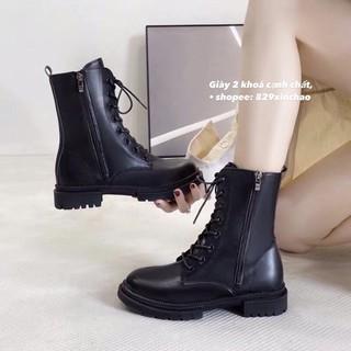 Sẵn boot da độn đế sang chảnh giày 2 khoá kéo boot da cao cổ, giày da cực đẹp (CLIP THẬT TỰ QUAY) thumbnail