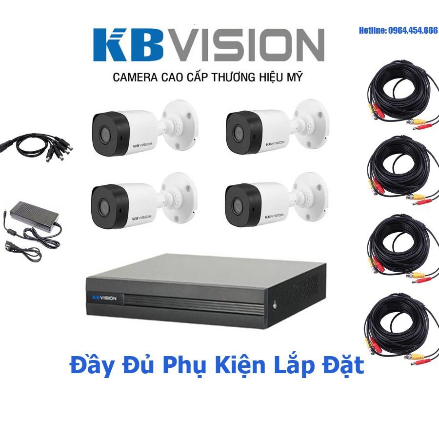 Bộ Camera Quan Sát KBVision 4 Kênh Full HD - Hàng Chính Hãng