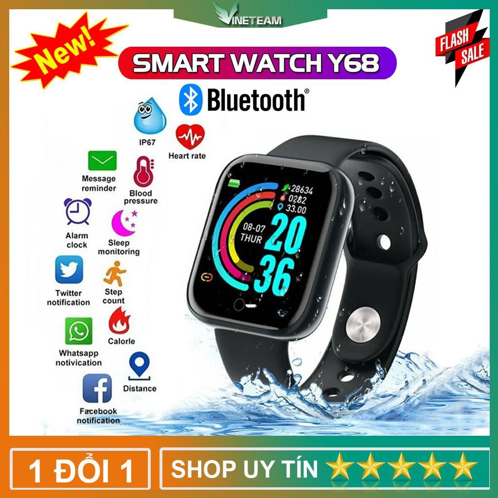 💥Thay được hình nền💥 Đồng Hồ Thông Minh Smart Watch D20 Bản nâng cấp Y68 Kết Nối Bluetooth, Chống nước IP67 -dc4544