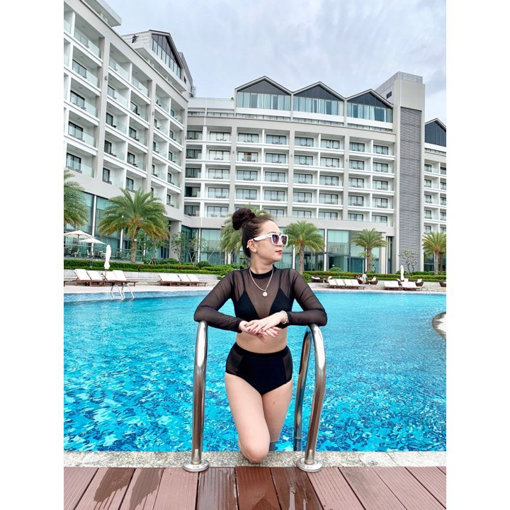 Bikini đồ bơi nữ tay dài 2 lớp lưới