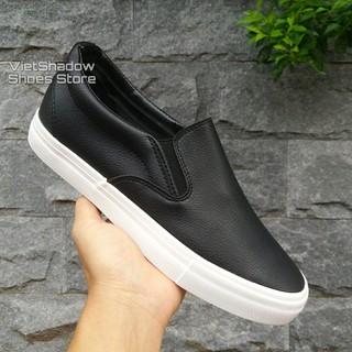 Slip on da nam - Giày lười da nam tăng chiều cao - Chất liệu da PU màu đen đế trắng và trắng full - Mã SP A568 thumbnail