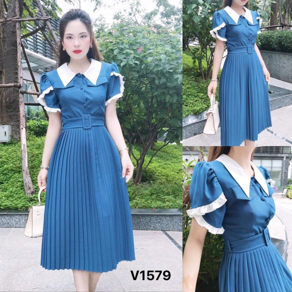 Đầm xanh cổ trắng dập li V1579 - Đầm thiết kế DVC Kèm ảnh thật