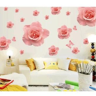 Decal dán tường hoa hồng phấn
