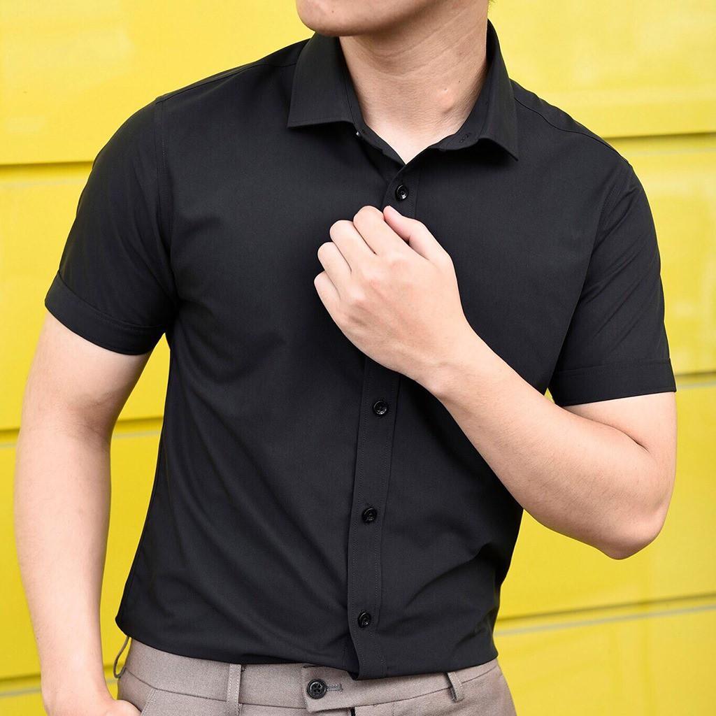 Áo sơ mi nam ngắn tay Hàn Quốc Cao Cấp chất vải lụa mềm, co giãn nhẹ
