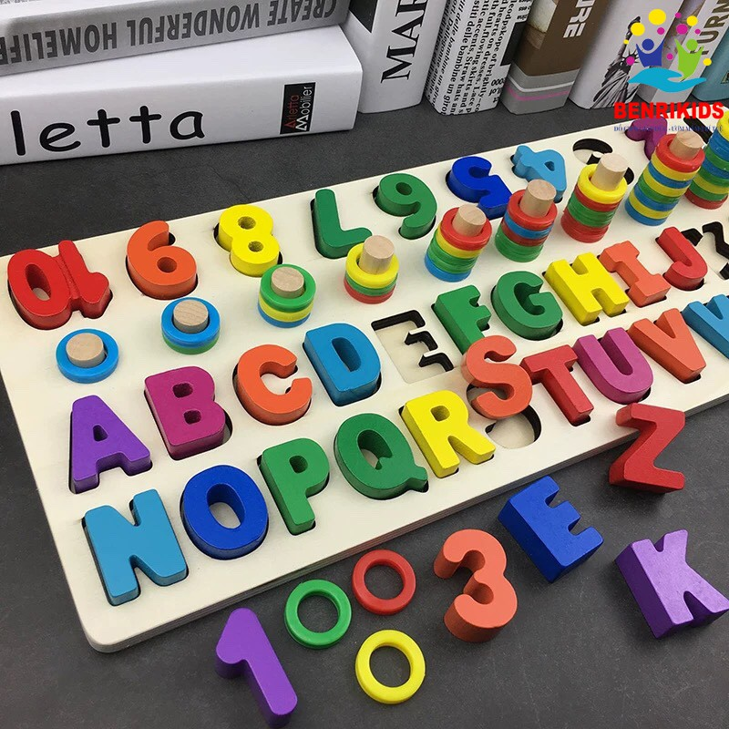 Đồ chơi bảng cọc số và chữ cái đa năng cho bé - bảng số Motessori