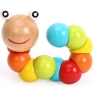 Educational Wooden Caterpillar Toy Children's Hands-on Toys Baby Fingers Worm Toy