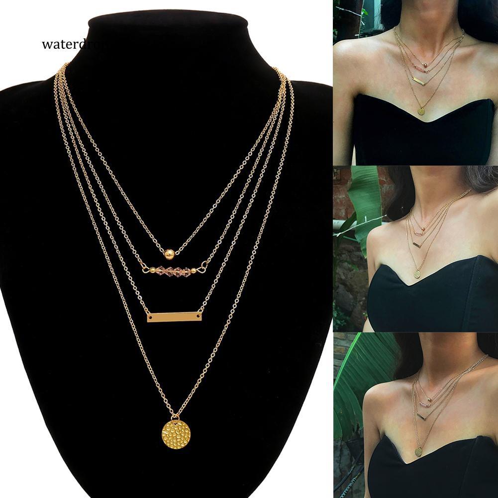 XL-Women Elegant Mult Layers Chain Geometry Beads Round Pendants Sweater Necklace