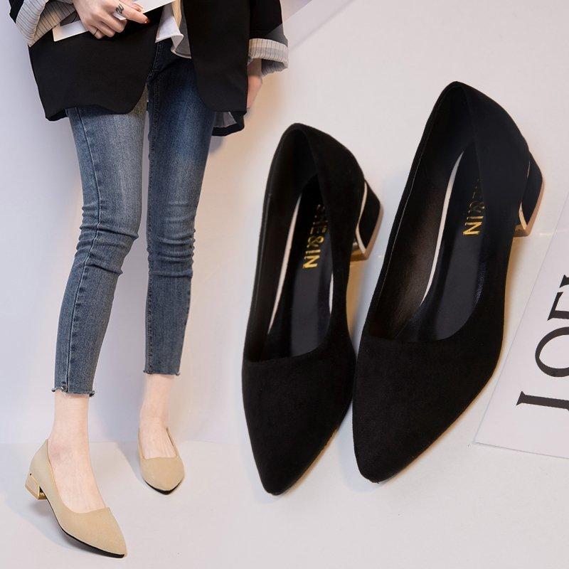 41 42 Giày Bệt Cộng Với Kích Thước Nữ, Pumps Đế Bằng Da Lộn Mũi Nhọn Đế Thấp, Giày Đi Làm Thoải Mái Thông Thường Theo Phong Cách Hàn Quốc