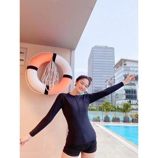 Sẵn Mút Ngực Có Khoá Kéo Trước Áo Bơi Lẻ Tay Dài Màu Đen thumbnail
