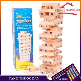 Bộ đồ chơi rút gỗ dành cho mọi lứa tuổi, bộ đồ chơi gồm 54 thanh và 4 viên xúc xắc thumbnail