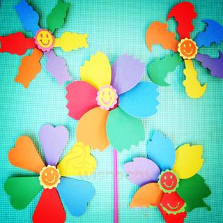 """""""Children's hand-made EVA 3d paste six-color windmill diy handmade puzzle labor toys """""""