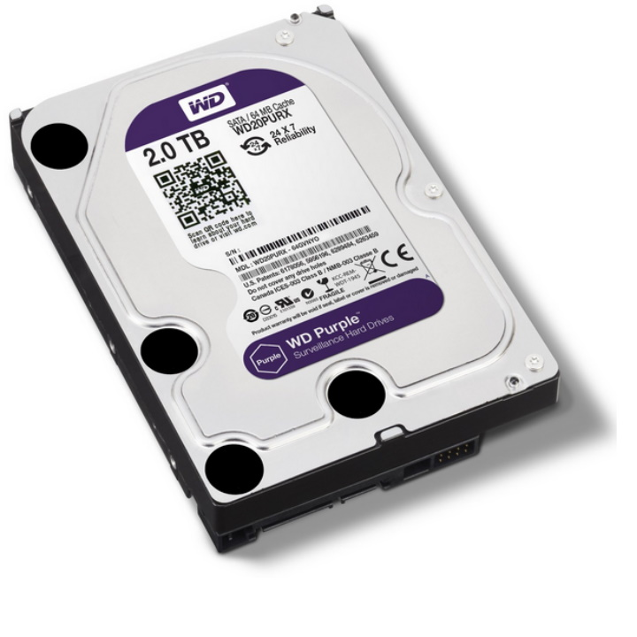 Ổ cứng HDD 2000G(2TB) Western Purple ( Tím ) , Chuyên dùng cho camera , lưu trữ dữ liệu - Bảo hành 24 tháng 1 đổi 1