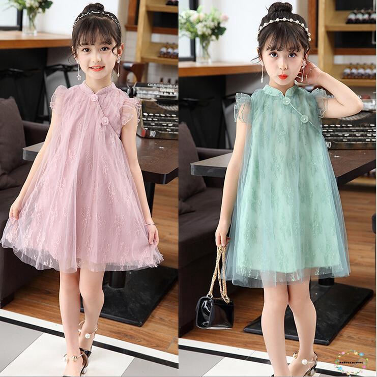 ☛☏❤Kids Girls Lace Princess Retro Cheongsam Gauze Dress Summer Fashion