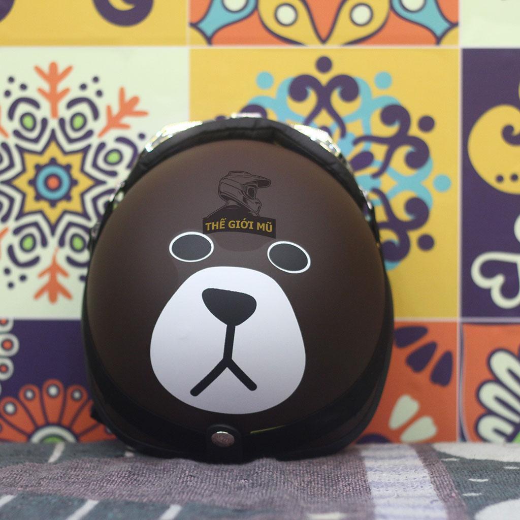 Mũ bảo hiểm nửa đầu Gấu Nâu có kèm kính, hàng chính hãng khóa đỏ, xốp ép nhiệt chắc chắn