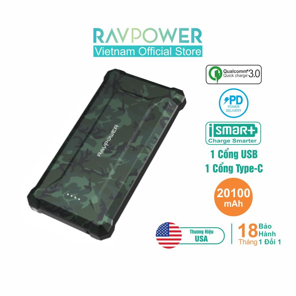 Pin Sạc Dự Phòng RAVPower 20100mAh Cổng In/Out Type-C PD 45W, RP-