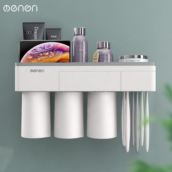 Kệ để đồ đánh răng ENON cao cấp cốc hít mẫu 3 cốc