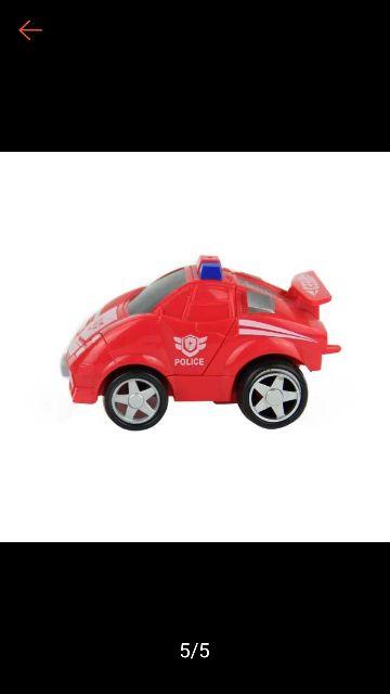 Sp đồ chơi xe cảnh sát đụng tường biến hình thành robot