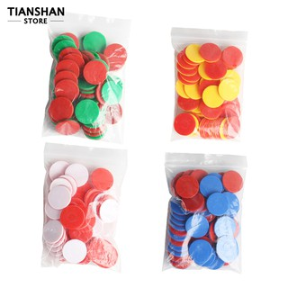 50Pcs Dual Color Round Chips Counting Numbers Math Game Counters Teaching Aids