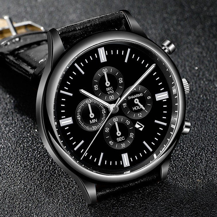 Đồng hồ nam SHAARMS SHA968 doanh nhân 2020 dây da cao cấp